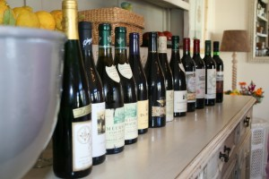 The line-up of wines