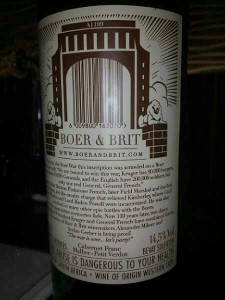 Back label of Boer & Brit's The General